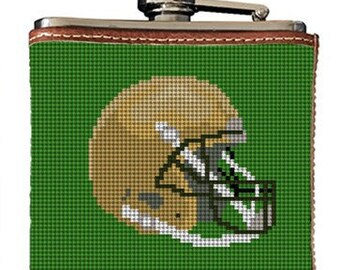 Football Needlepoint Flask