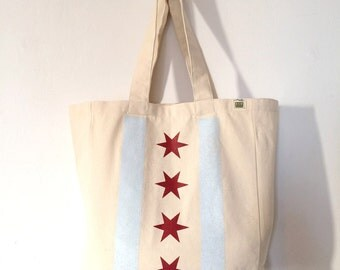 READY TO SHIP: Chicago Flag Tote - Pale Blue & Ruby or Champagne Metallic