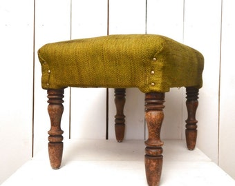 Wood Foot Stool Antique Ottoman Green Wool Upholstery Padded Vintage Dark Walnut Wooden Stool 1920s Era