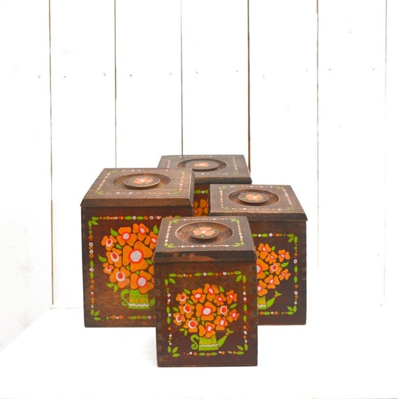 wooden kitchen canisters 1960s floral hand painted canister vintage wooden kitchen canister set strawberry design