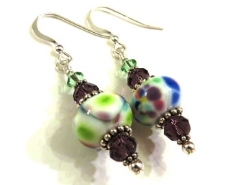 Green, Blue & Purple Lampwork Earrings, Green Earrings, Blue Earrings, Purple Earrings, Lampwork Jewelry