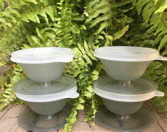 Vintage Tupperware Individual Dessert Cups w/ Lids Gray Set (4) ~ #A2462