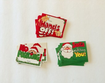 Vintage 1970s Christmas gift tag / gift wrap / to and from / retro / kitsch / lot of tags / unused / funny / santa claus / set of 18