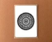 Beautiful mandala card, BLACK ROUNDIE, zentangle card, general note card