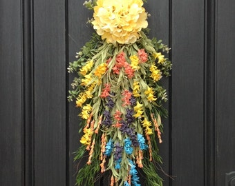 Spring Wreath Summer Wreath Teardrop Vertical Door Swag Decor Yellow Peach Purple Mix Wispy Floral Swag Indoor Outdoor Decoration