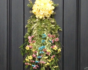 Spring Wreath Summer Wreath Teardrop Vertical Door Swag Decor Floral Door Decoration Yellow Pink Blue Swag Indoor/Outdoor