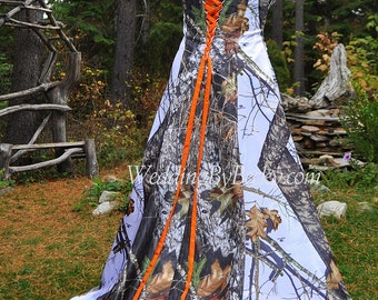 Wrap waist full camo Wedding dress 'Maggie' Made ONLY in the USA