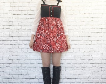 Vintage 70s Faux Jumper Mini Dress Bandana Print Red Black White Polka Dot Ruffled Velvet XXS XS