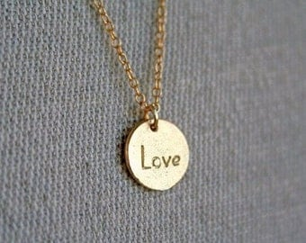 Gold Initial Necklace. Gold Initial Charm Necklace. Monogram Necklace. Hand Stamped Necklace.Gold Necklace. Disc Necklace.Love Necklace.Mom.