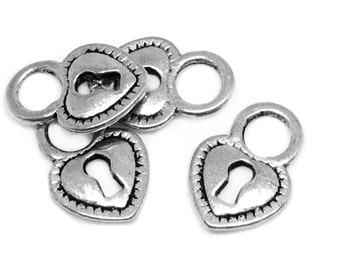 Silver Charms : 10 Antique Silver Heart Skeleton Key Lock Charms | Dark Silver Heart Lock Pendants -- Lead, Nickel & Cadmium Free  H6K