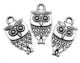 Silver Charms : 10 Double-Sided Antique Silver Owl Charms / Silver Owl Pendants  -- Lead, Nickel & Cadmium Free  14924.A10
