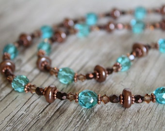 Aqua Glass, Champagne Swarovski Crystal, Bronze Brown Glass, Tan Glass Pearls, and Copper Necklace and Earring Set / Gifts for Her / Unique