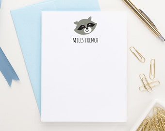 Raccoon Note cards for kids, Forest Animals Baby shower thank you cards, Personalized stationery for Boys, Animal stationary, KS054