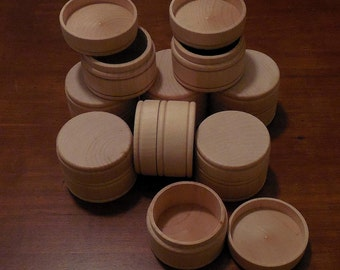 """9 Round MIDDLE Size Wood Box w/Lid UNFINISHED 1-5/8"""" x 2-1/4"""" Pill Gift Ring Jewelry Trinket Treasure Tooth Fairy Wooden Boxes  (MT1)"""