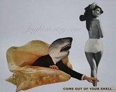 Paper Collage Print, Shark Art, Collage Art, Funny Art, Landshark, Retro Art, Surreal Art Print, Black and White, Shark Week Art