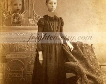 Halloween Wall Art, Headless Woman, Halloween Decor, Mixed Media Art, Collage Print, Antique Photography