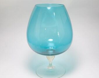 Mid Century Italian Empoli Teal Art Glass Brandy Snifter, Teal Balloon Vase, Art Glass Vase, Large Brandy Snifter, Venetian Glass, Italy