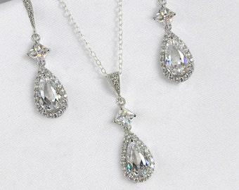 Wedding Jewelry SET, Crystal Bridal Earrings, Bridal Jewelry, Cushion Cut, Swarovski Bridesmaid, Wedding Necklace, Alicia Bridal Jewelry SET