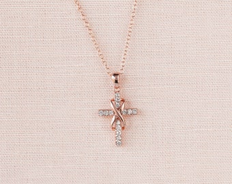 Infinity Cross Necklace, Rose Gold Bridal jewelry, Wedding Jewelry, Swarovski, Sterling silver, Infinity Cross Pendant
