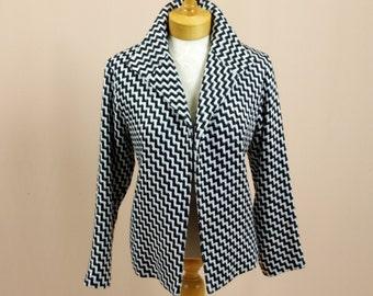 Dana Buchman Jacket * Black and White Blazer * Womens Herringbone Blazer * Black and White Jacket * Business Casual