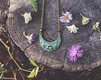 boho crescent patina garden necklace