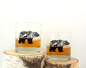 Rock Glasses - Bear and Wolf - Screen Printed Whiskey Glasses - Kitchen Glasses