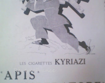 Art Deco Vintage French Ad for Kyriazi Cigarettes Egypt  1931