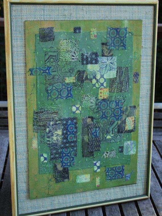 Green fabric acrylic collage original painting framed for Using fabric paint on glass