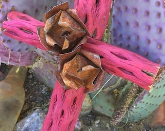 Cholla Wood Cross - Sacred works of the High Desert - Fuchsia / PINK - Original Art / Cathy DeLeRee
