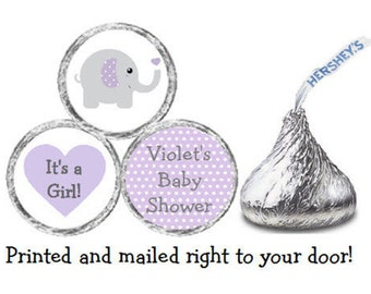 Printed 108 Baby Shower Stickers for Candy Kiss® -Purple & Gray (Grey) Baby Elephant Lavender Polka Dots Ear Labels