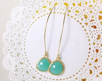 Gold Mint Opal Earrings - Marquise Long Dangle Earrings - Garden Wedding Bridesmaids Gift For Sister
