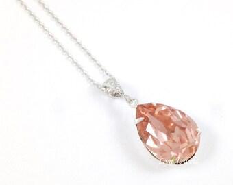 Blush Pink Necklace, Wedding Blush Necklace, Bridesmaids Blush Teardrop Necklace, Swarovski Crystal Vintage Rose Teardrop Pendant Necklace