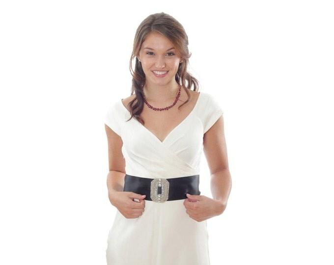 Black Bridal Belt w/ Rhinestone Art Deco Embellishment Block O Frame Bridesmaid Sash Ohio State Buckeyes 1000242 1000243