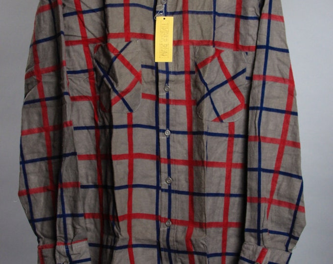 Large Grey 1960s 1970s Vintage Flannel Unworn Tags | Mens Womens Unisex | 6BB