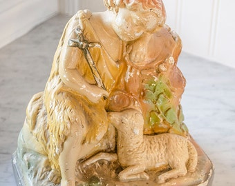 Vintage St John the Baptist Statue with The Lamb of God