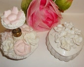 Vtg IRICE Pink White Floral Porcelain Perfume Bottle & Heart Trinket box Collectible Vanity Decor