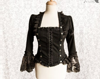 Blouse Steampunk Victorian, goth shirt, black lace, Charleroi, Somnia Romantica, size small - medium see item details for measurements