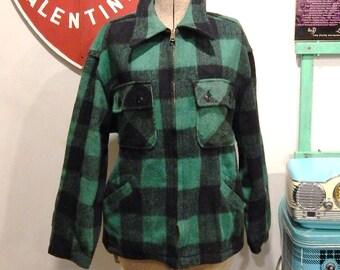 Vintage Plaid Jacket - Plaid Wool Jacket - Five Brother Coat - Buffalo Plaid - Men Wool Coat