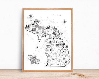 White Michigan Landmarks Map 16x20