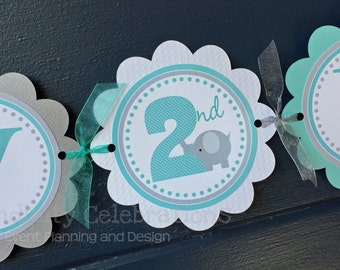 Elephant Birthday Banner, Personalized Banner, Elephant Party, Baby Shower, Elephant Happy Birthday Banner, Photo Prop, Grey Elephant