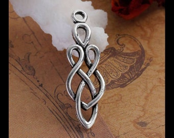 4 Celtic Knot Goddess Charms in Silver Tone - C2430