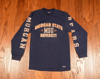 vintage 80s Morgan State University t-shirt long sleeve tee Bears 1980 MSU Jansport 100% heavyweight cotton Baltimore S small