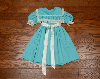 vintage 50s 60s baby girl dress set lace trim teal blue green 1950 1960 toddler size 4 Ance K belt tie waist flap cape yoke