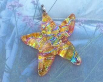 Orange dichroic glass starfish pendant, dichroic glass, starfish pendant, glass pendant, dichroic glass pendant, jewelry supplies, pendant