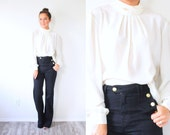 Vintage boho white high neck blouse // boho top // summer cream top // modest ivory white blouse top // ivory blouse / long sleeve fancy top