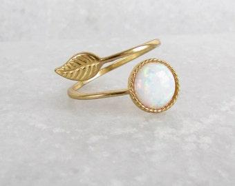 Gold Opal Ring - Opal Ring, Opal Jewelry, Opal Jewellery, Minimalist Jewellery, Gold Ring, Gold Jewellery, Leaf Ring, Adjustable Ring
