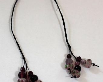 Braided Hemp Bookmark- Purple Rose Glass Beads