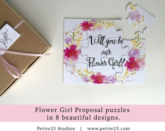 PUZZLE- Will You Be our Flower Girl, bridal party proposal,  flower girl card, watercolor flowers, floral wreath, pink, red