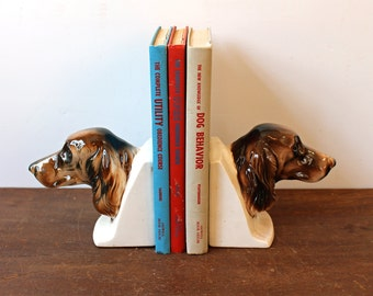 Vintage dog bookends - ceramic brown irish setters - spaniels - china bookends filled with sand - vintage dog home decor