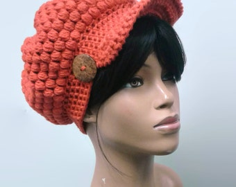 PATTERN ONLY Crochet Puff Stitch Beanie/Newsboy Hat with optional brim and button